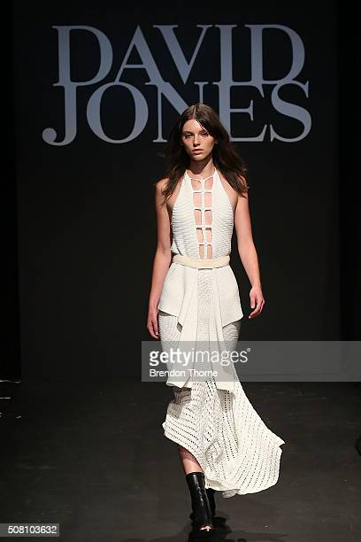 A model showcases designs by Kitx during rehearsal ahead of the David Jones Autumn/Winter 2016 Fashion Launch at David Jones Elizabeth Street Store...