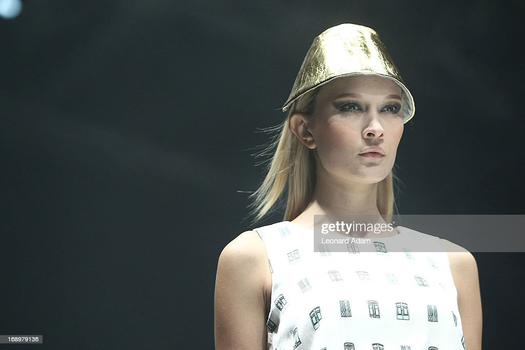 A model showcases designs by Ko Youngji of South Korea during the Audi Star Creation Capsule Showcase on May 17, 2013 in Singapore.