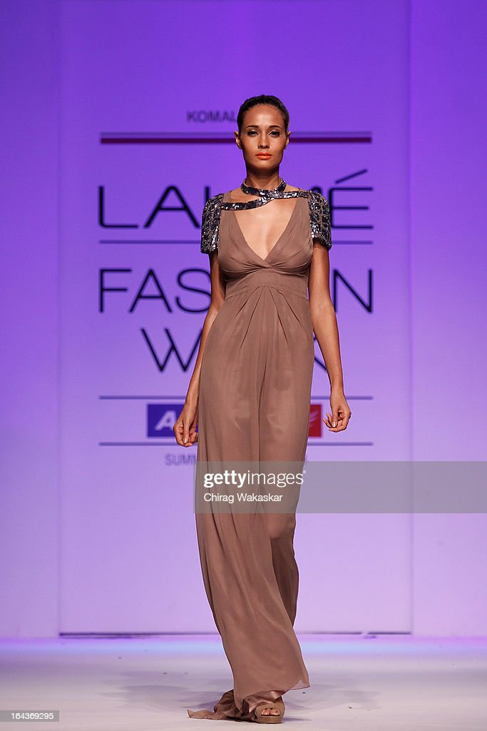 A model showcases designs by Komal Sood on the runway during day two of the Lakme Fashion Week Summer/Resort 2013 on March 23, 2013 at Grand Hyatt in Mumbai, India.