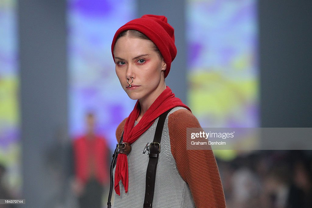 A model showcases designs by Koren Wheatley on the runway at the Sportsgirl National Graduate Showcase during day six of L'Oreal Melbourne Fashion Festival on March 23, 2013 in Melbourne, Australia.