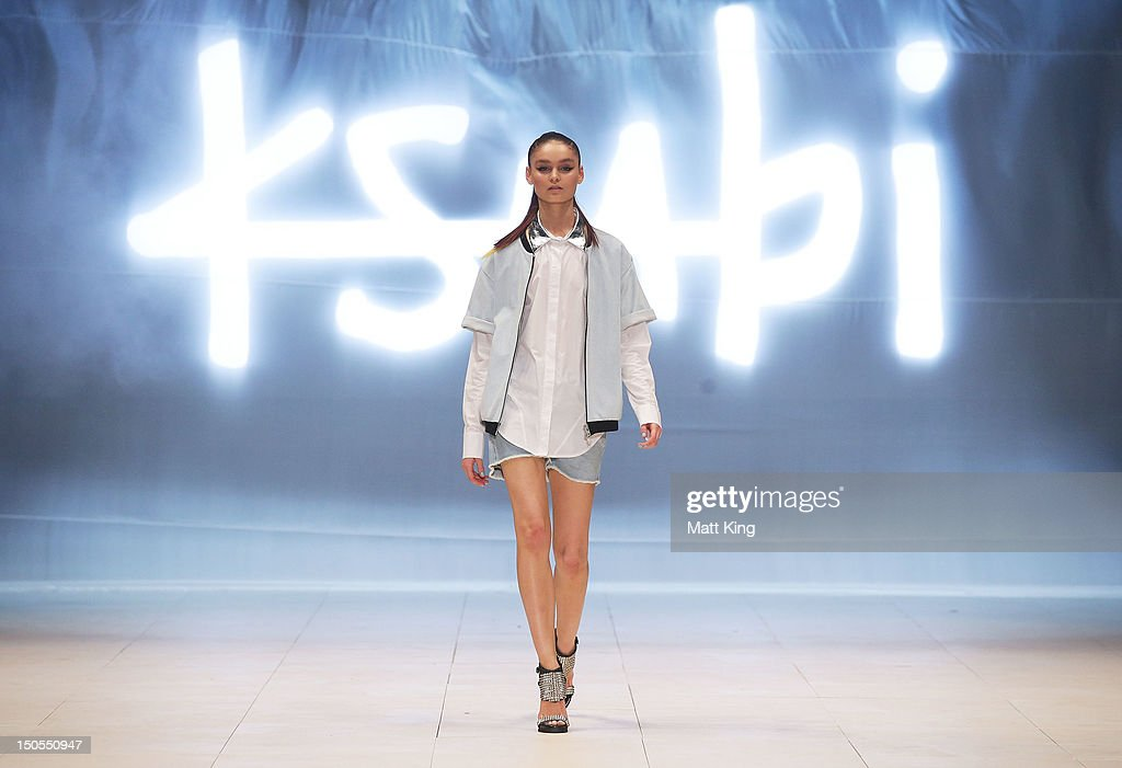 A model showcases designs by Ksubi on the catwalk as part of Mercedes Benz Fashion Festival Sydney 2012 at Sydney Town Hall on August 21 2012 in...