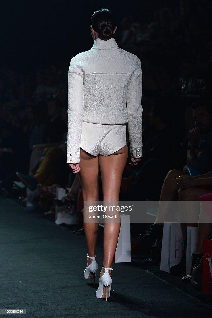 A model showcases designs by Ksubi on the runway at the Hello Elle Australia show during MercedesBenz Fashion Week Australia Spring/Summer 2013/14 at...
