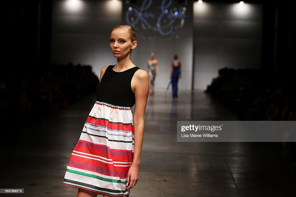 A model showcases designs by Leona Edmiston on the runway during Fashion Palette 2013 on March 7, 2013 in Sydney, Australia.