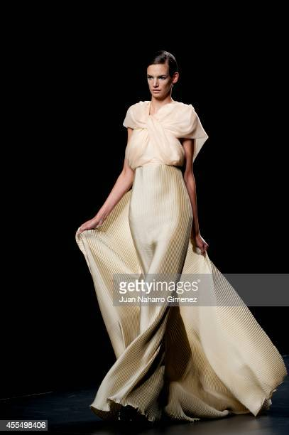 A model showcases designs by Leyre Valiente on the runway at the Leyre Valiente show during Mercedes Benz Fashion Week Madrid Spring/Summer 2015 at...