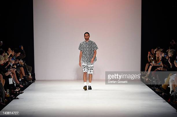 A model showcases designs by LF Markey on the catwalk during the New Generation 2 group show on day five of Mercedes Benz Fashion Week Australia...