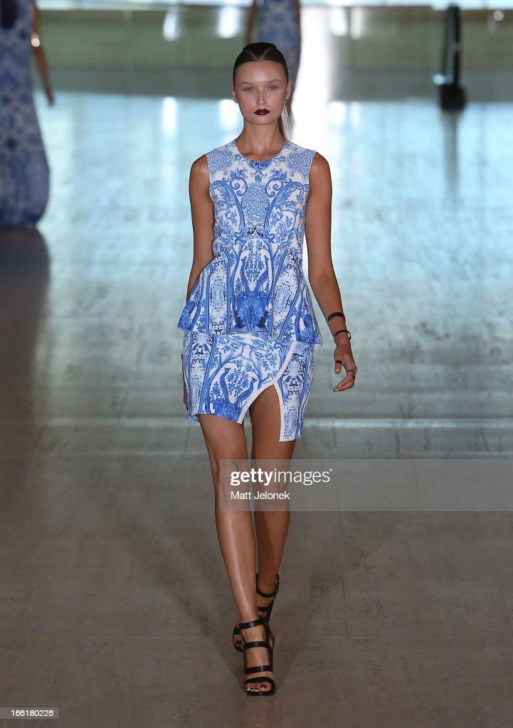 A model showcases designs by Lisa Ho on the runway at the Lisa Ho show during MercedesBenz Fashion Week Australia Spring/Summer 2013/14 at Art...