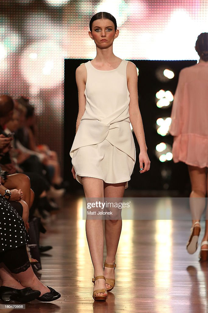 A model showcases designs by Lisa Marjanovich on the runway during Perth Fashion Festival at The Western Australian Museum on September 13, 2013 in Perth, Australia.