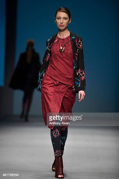 A model showcases designs by Loom Loop on the runway during the Brand Collections' Show on day 1 of Hong Kong Fashion Week Fall/Winter 2015 at the...