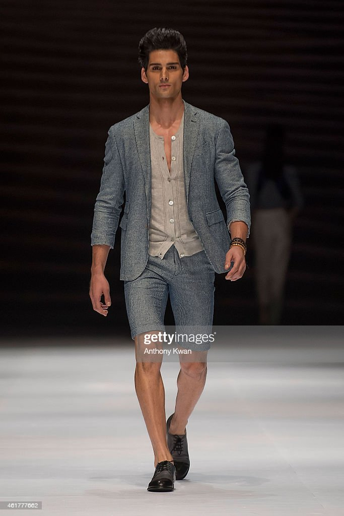 A model showcases designs by Loris Diran on the runway during the PolyU Intimate Fashion Show on day 1 of Hong Kong Fashion Week Fall/Winter 2015 at...