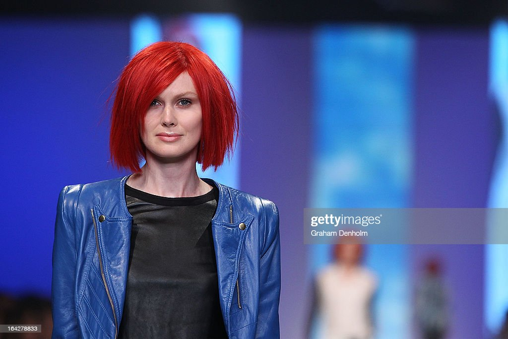 A model showcases designs by Lucette on the runway at the L'Oreal Paris Runway 6 show during day five of L'Oreal Melbourne Fashion Festival on March 22, 2013 in Melbourne, Australia.