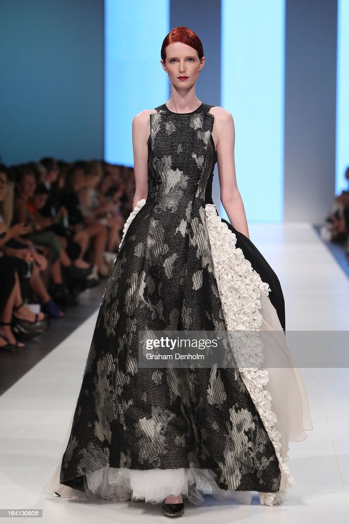 A model showcases designs by Maticevski on the runway at the L'Oreal Paris Runway 1 show during day three of L'Oreal Melbourne Fashion Festival on March 20, 2013 in Melbourne, Australia.