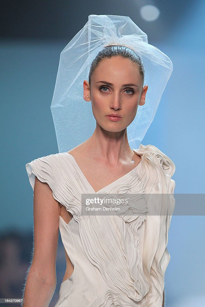 A model showcases designs by Maticevski on the runway at the Red Carpet Runway show during day six of L'Oreal Melbourne Fashion Festival on March 23, 2013 in Melbourne, Australia.