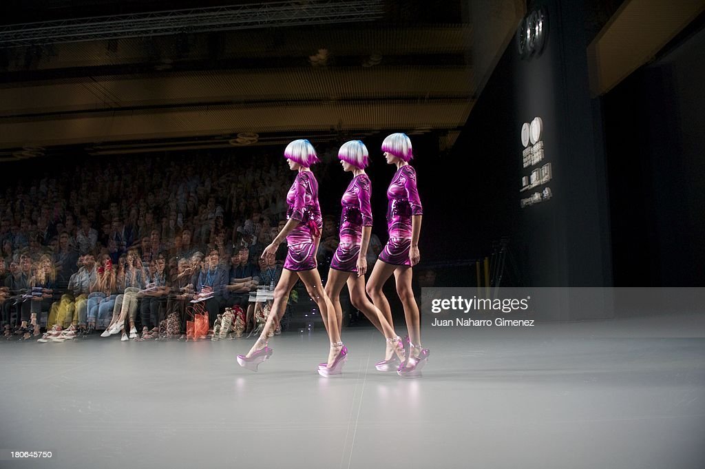 A model showcases designs by Maya Hansen on the runway at Maya Hansen show during Mercedes Benz Fashion Week Madrid Spring/Summer 2014 at Ifema on September 15, 2013 in Madrid, Spain.