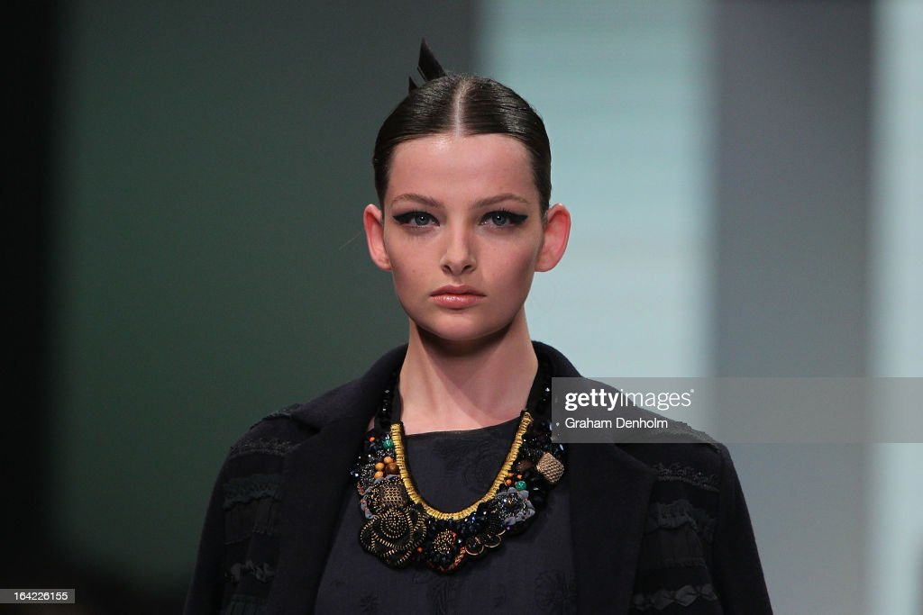 A model showcases designs by Megan Park on the runway at the L'Oreal Paris Runway 4 show during day four of L'Oreal Melbourne Fashion Festival on March 21, 2013 in Melbourne, Australia.