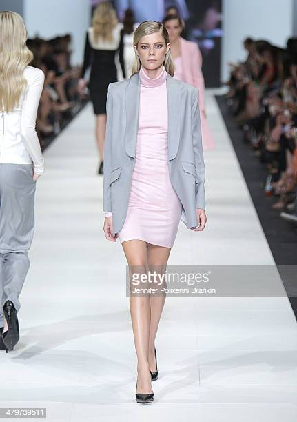 A model showcases designs by Michael Lo Sordo on the runway during the Premium Runway 4 Presented by Elle Australia show at Melbourne Fashion...