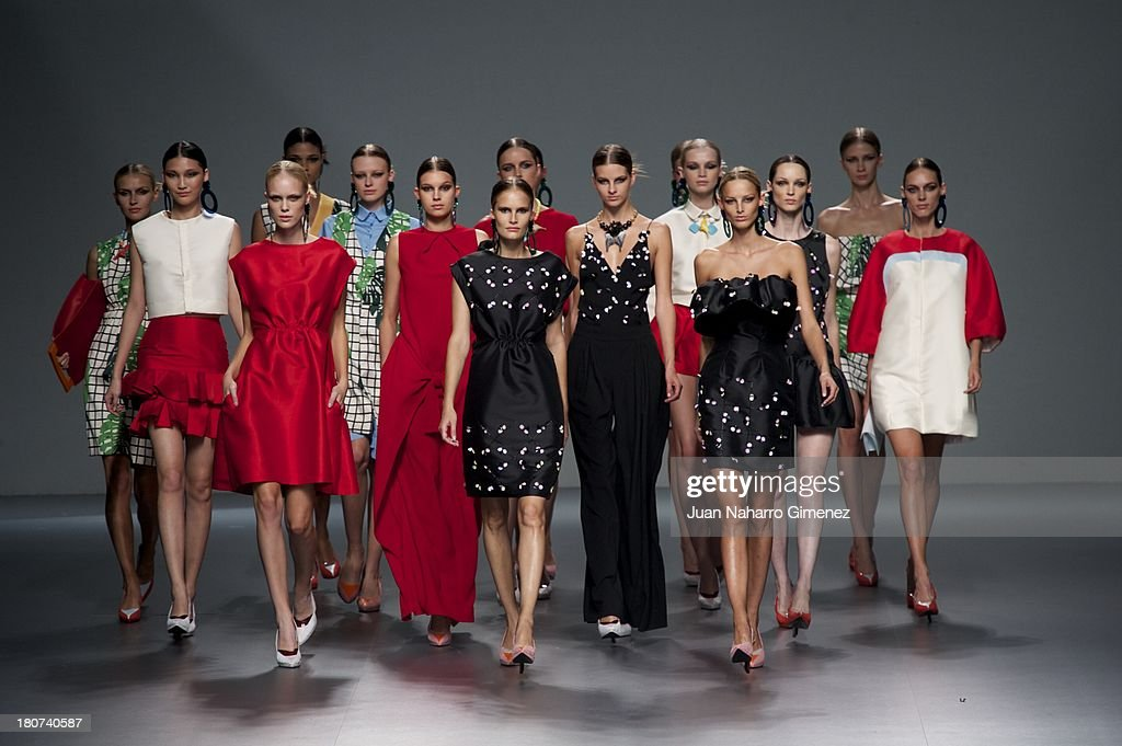 A model showcases designs by Moises Nieto on the runway at Moises Nieto show during Mercedes Benz Fashion Week Madrid Spring/Summer 2014 at Ifema on September 16, 2013 in Madrid, Spain.