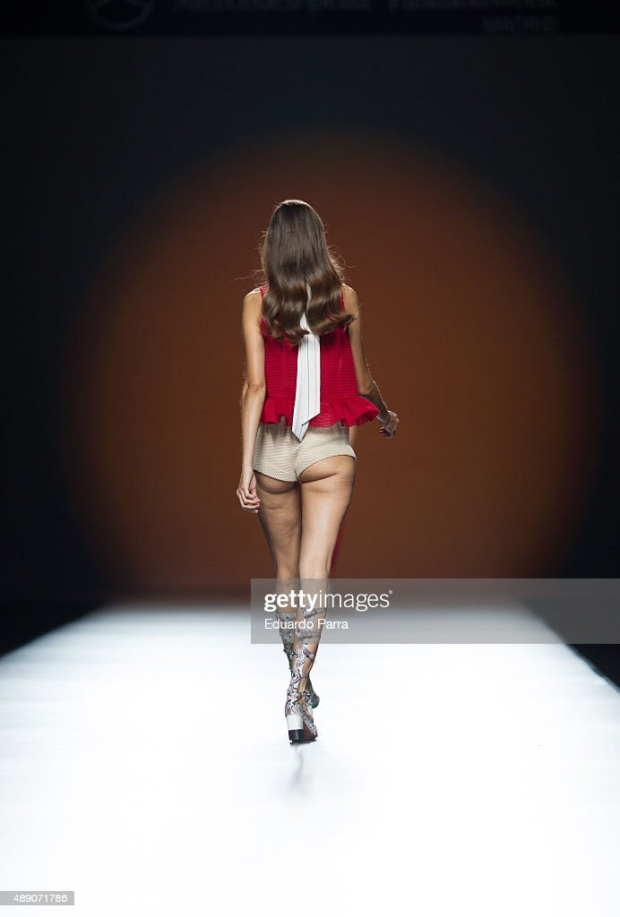 A model showcases designs by Moises Nieto on the runway at the Moises Nieto show during MercedesBenz Fashion Week Madrid Spring/Summer 2015/16 at...