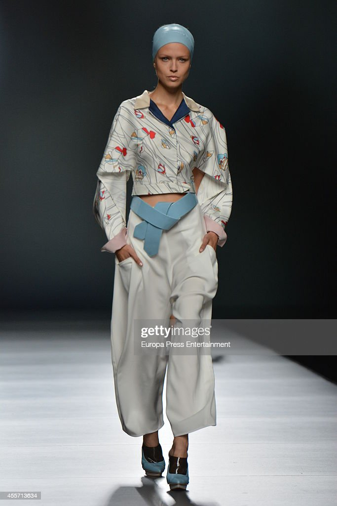 A model showcases designs by Moises Nieto on the runway during Mercedes Benz Fashion Week Madrid Spring/Summer 2015 at Ifema on September 13 2014 in...