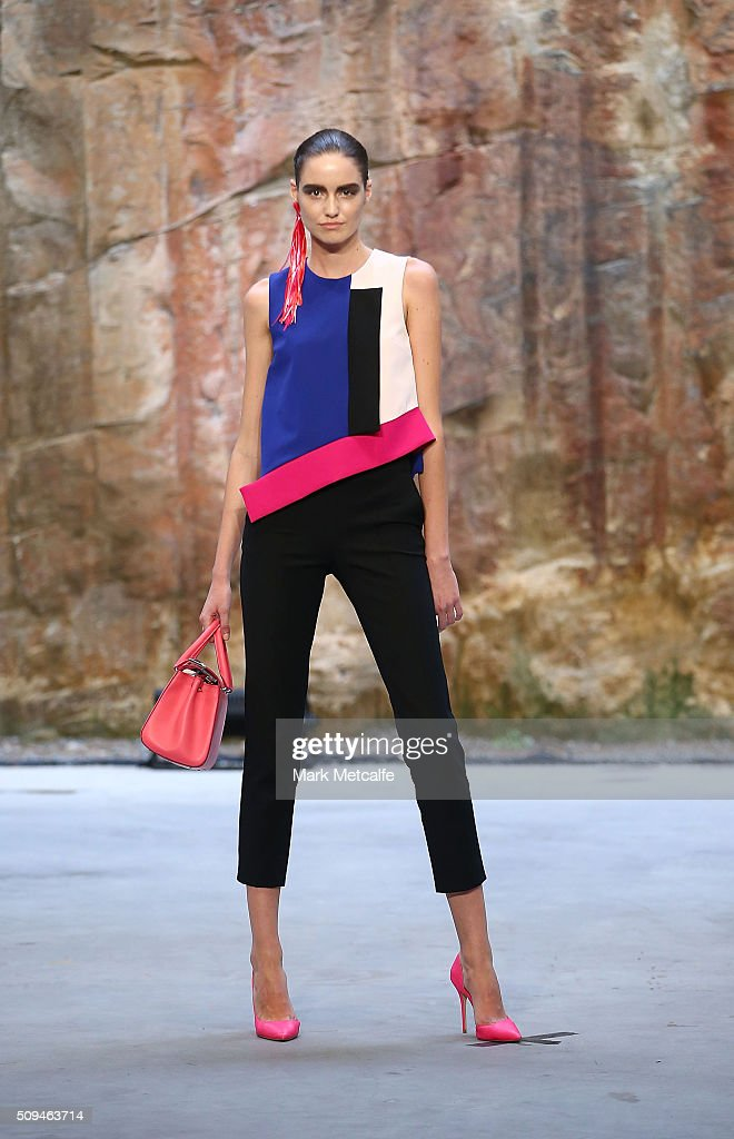 A model showcases designs by MSGM during rehearsal ahead of the Myer AW16 Fashion Launch on February 11, 2016 in Sydney, Australia.
