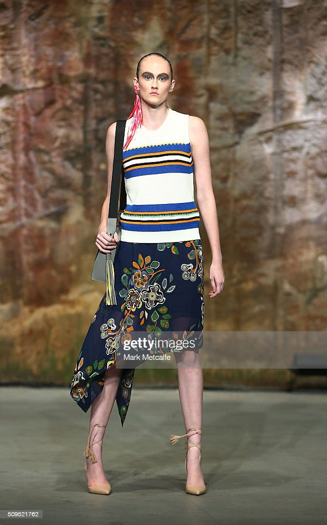 A model showcases designs by MSGM on the runway at the Myer AW16 Fashion Launch on February 11, 2016 in Sydney, Australia.