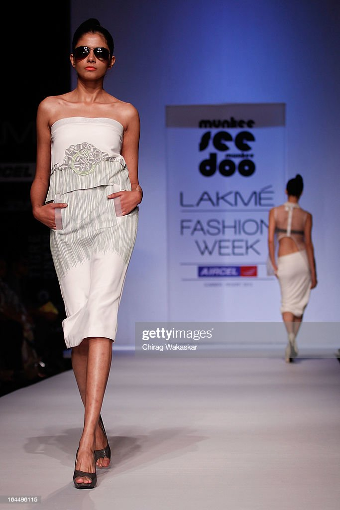 A model showcases designs by Munkee.See.Munkee.Do on the runway during day three of Lakme Fashion Week Summer/Resort 2013 on March 24, 2013 at Grand Hyatt in Mumbai, India.