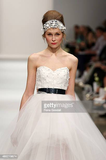 A model showcases designs by Natalie Chan during the New Zealand Weddings Magazine Collection show at New Zealand Fashion Week 2015 on August 26 2015...