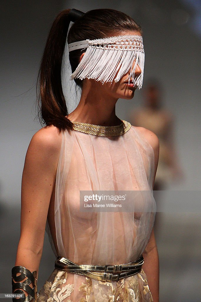 A model showcases designs by Niki Teljega on the runway during Fashion Palette 2013 on March 7, 2013 in Sydney, Australia.