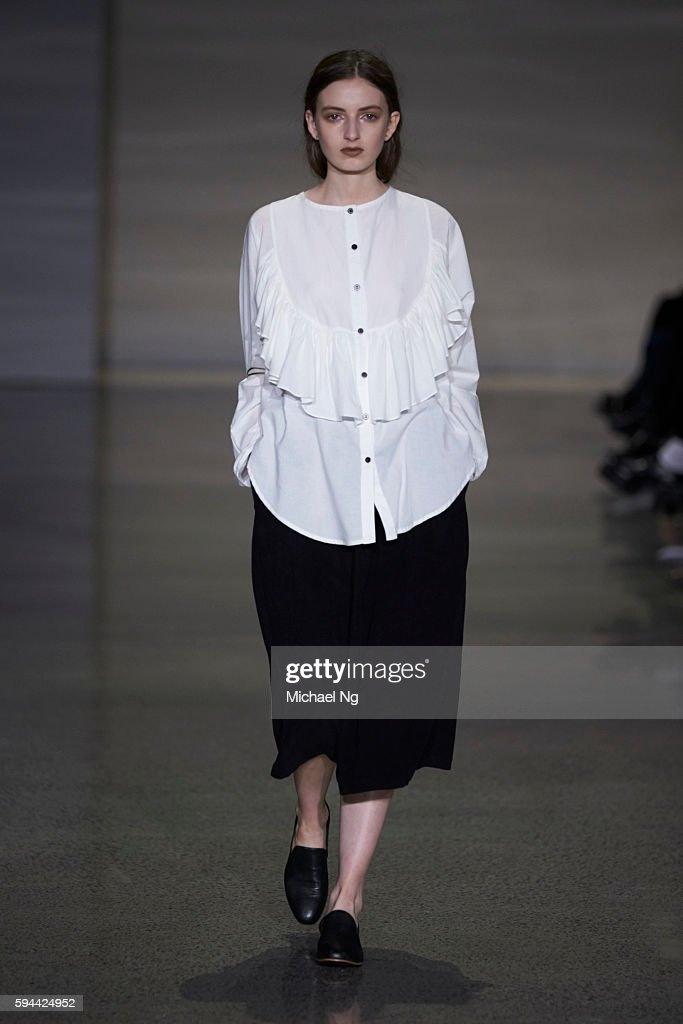 A model showcases designs by Ovna Ovich on the runway during 2016 New Zealand Fashion Week on August 23 2016 in Auckland New Zealand