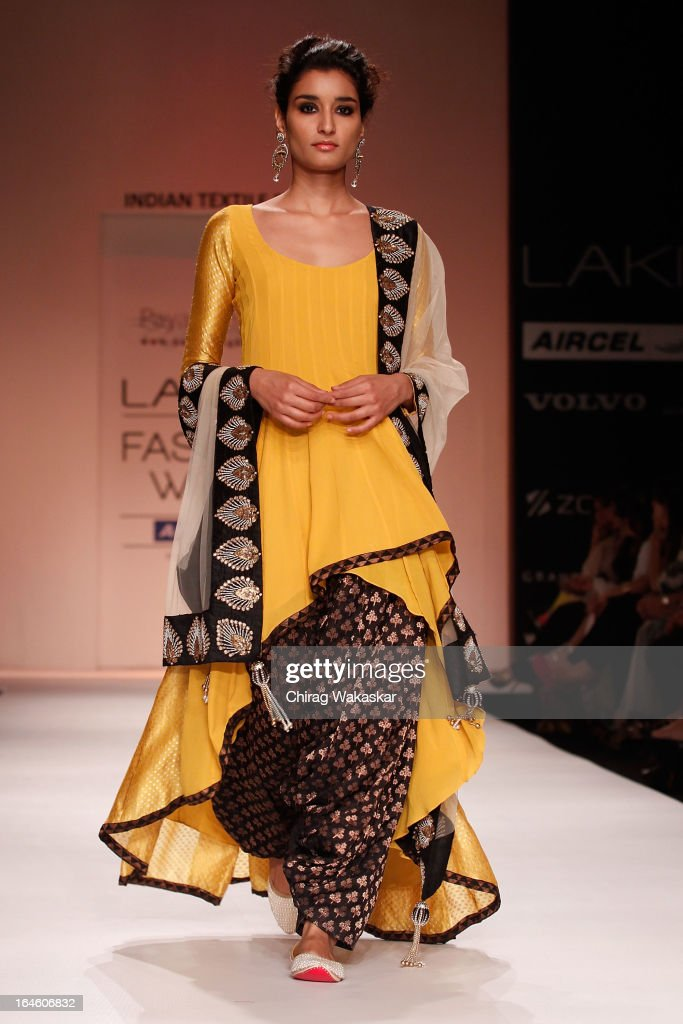 A model showcases designs by Payal Singhal on the runway during day four of Lakme Fashion Week Summer/Resort 2013 on March 25, 2013 at Grand Hyatt in Mumbai, India.