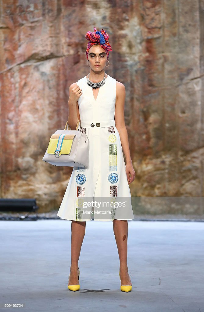 A model showcases designs by Peter Pilotto during rehearsal ahead of the Myer AW16 Fashion Launch on February 11, 2016 in Sydney, Australia.