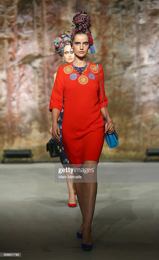 A model showcases designs by Peter Pilotto on the runway at the Myer AW16 Fashion Launch on February 11, 2016 in Sydney, Australia.