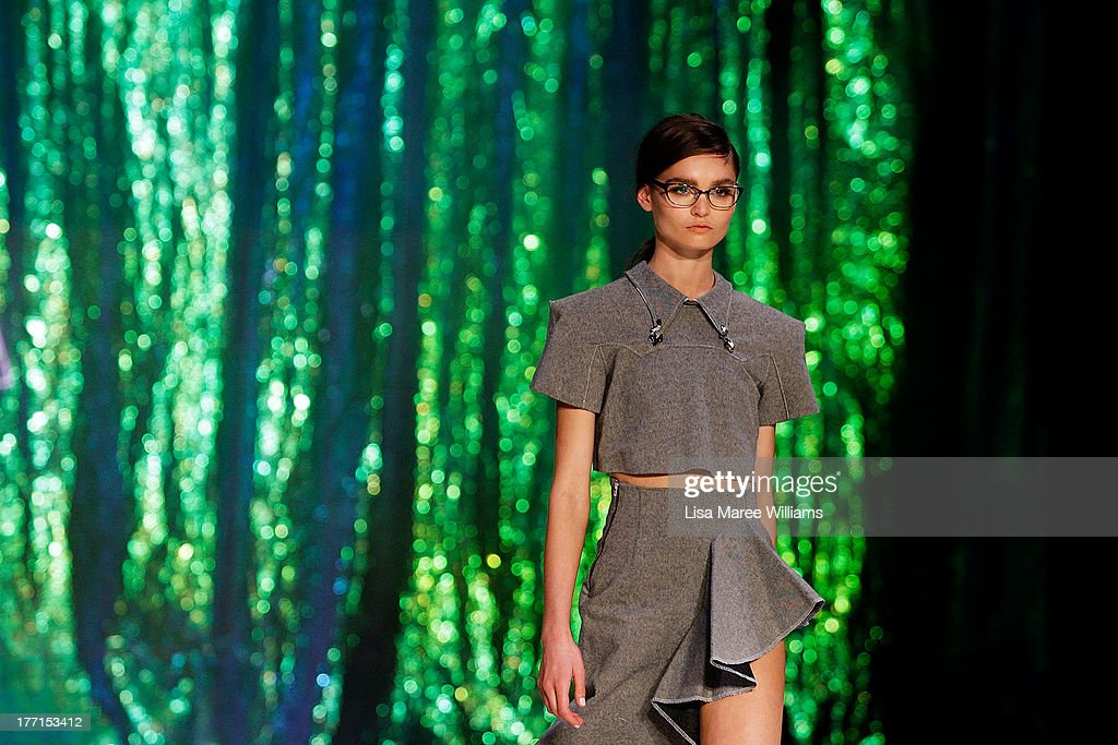 A model showcases designs by Phoenix Keating on the runway at the MBFWA Trends show during Mercedes-Benz Fashion Festival Sydney 2013 at Sydney Town Hall on August 21, 2013 in Sydney, Australia.