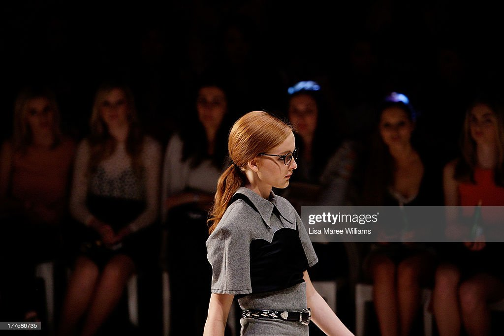 A model showcases designs by Phoenix Keating on the runway at the MBFWA Trends show during Mercedes-Benz Fashion Festival Sydney 2013 at Sydney Town Hall on August 24, 2013 in Sydney, Australia.