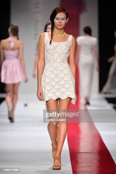 A model showcases designs by Poppy Lissiman on the catwalk during StyleAID 2012 at the Burswood Entertainment Complex on July 27 2012 in Perth...