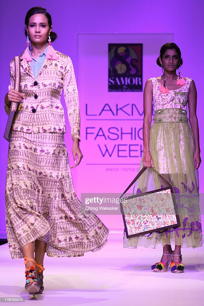 A model showcases designs by Pragya & Megha Samor during day 5 of Lakme Fashion Week Winter/Festive 2013 at the Hotel Grand Hyatt on August 27, 2013 in Mumbai, India.
