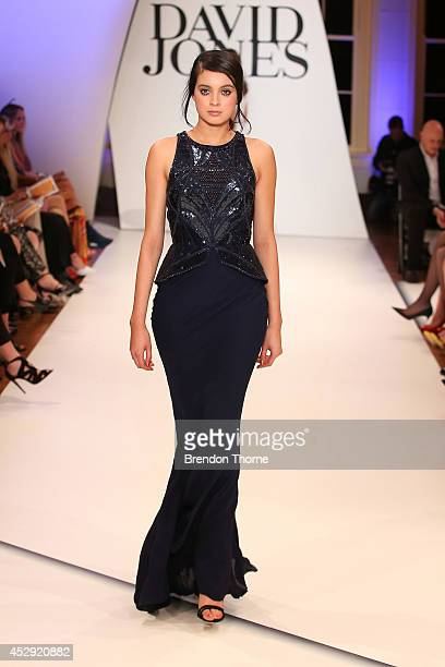 A model showcases designs by Rachel Gilbert at the David Jones Spring/Summer 2014 Collection Launch at David Jones Elizabeth Street Store on July 30...