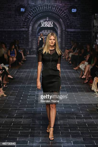 A model showcases designs by Rachel Gilbert during a rehearsal ahead of the David Jones Autumn/Winter 2015 Collection Launch at David Jones Elizabeth...