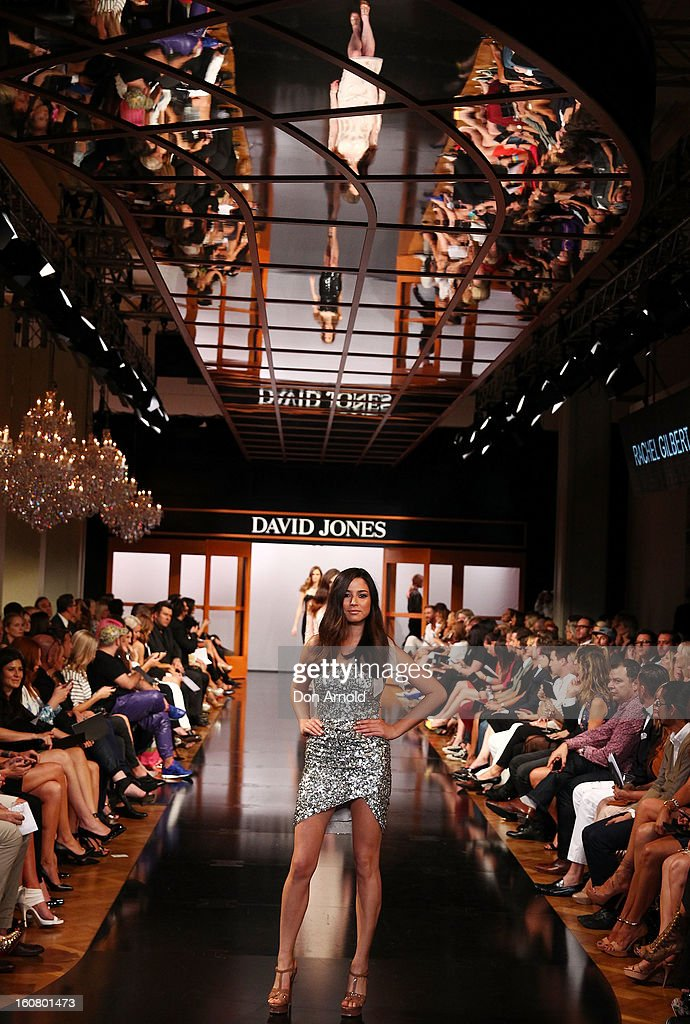 A model showcases designs by Rachel Gilbert on the catwalk during the A/W 2013 Season Launch at David Jones Castlereagh Street on February 6, 2013 in Sydney, Australia.