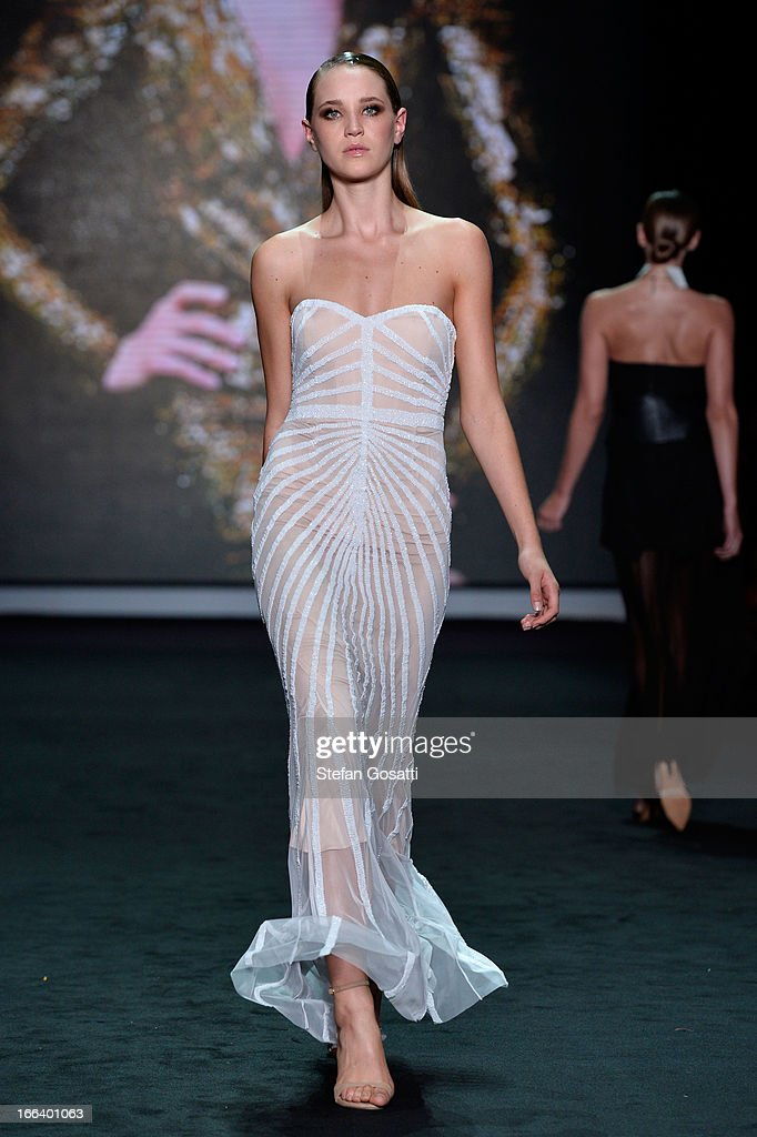 A model showcases designs by Rachel Gilbert on the runway at the Hello Elle Australia show during Mercedes-Benz Fashion Week Australia Spring/Summer 2013/14 at Carriageworks on April 12, 2013 in Sydney, Australia.