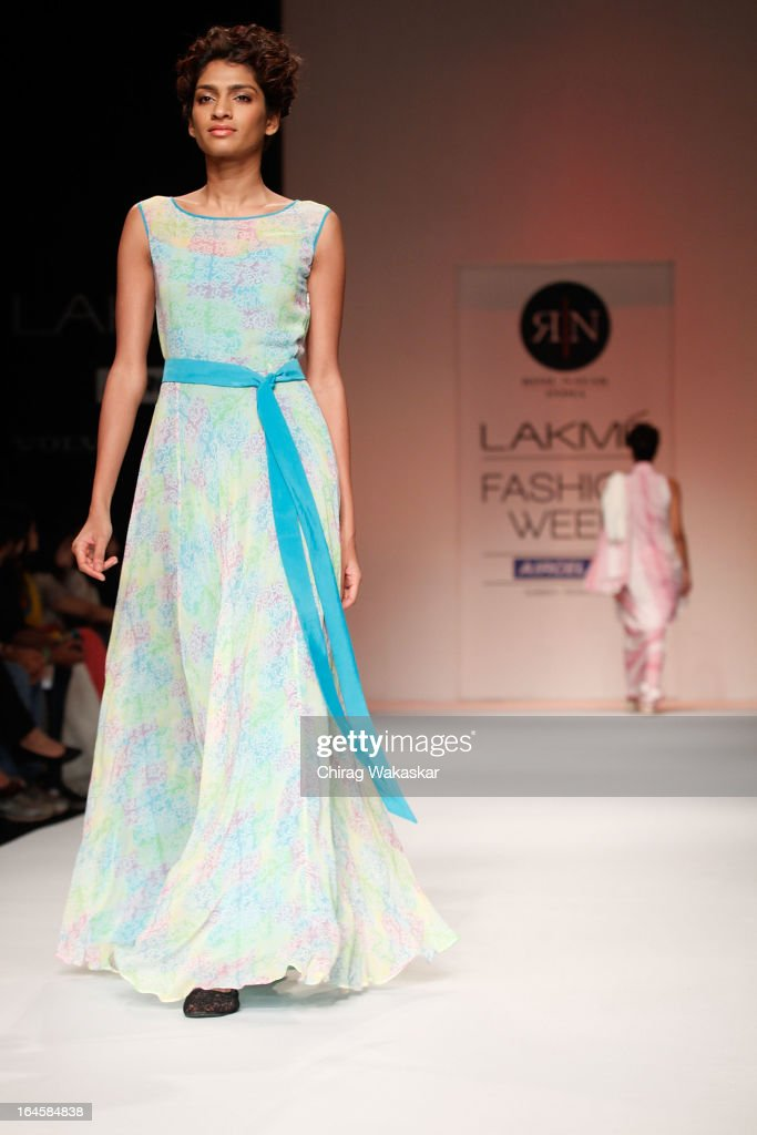 A model showcases designs by Rimi Nayak on the runway during day three of Lakme Fashion Week Summer/Resort 2013 on March 24, 2013 at Grand Hyatt in Mumbai, India.