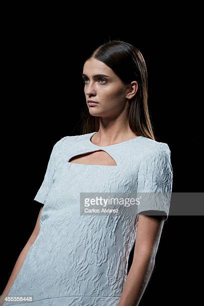A model showcases designs by Roberto Torretta during Mercedes Benz Fashion Week Madrid Spring/Summer 2015 at Ifema on September 13 2014 in Madrid...