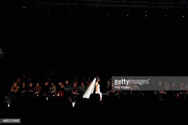 A model showcases designs by Robyn Cliffe by during the New Zealand Weddings Magazine Collection show at New Zealand Fashion Week 2015 on August 26...