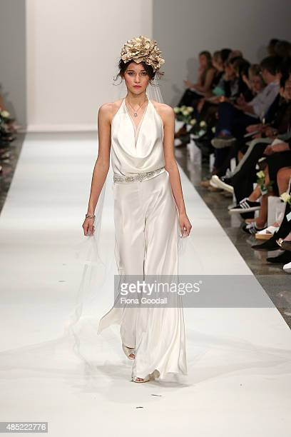 A model showcases designs by Robyn Cliffe Couturiere during the New Zealand Weddings Magazine Collection show at New Zealand Fashion Week 2015 on...