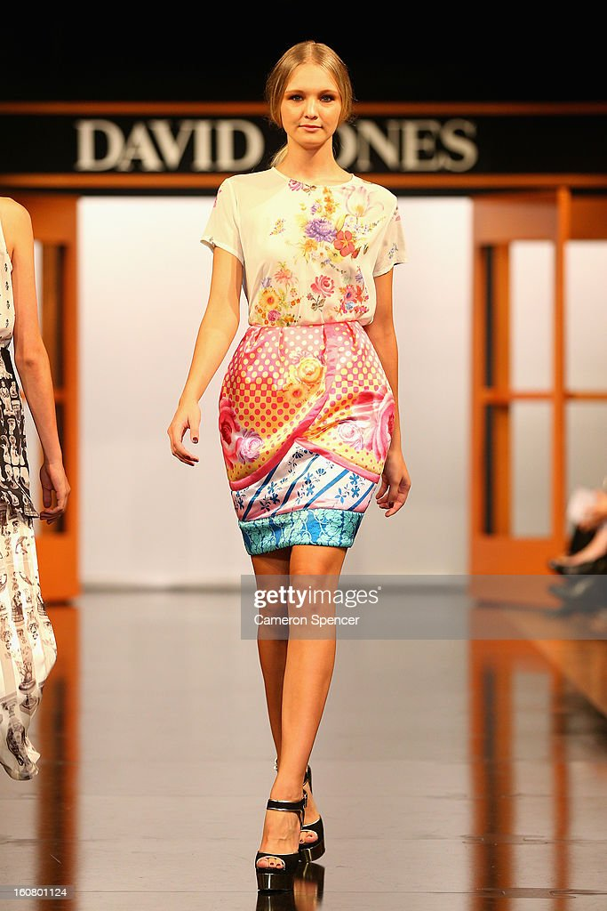 A model showcases designs by Romance Was Born on the runway during the David Jones A/W 2013 Season Launch at David Jones Castlereagh Street on February 6, 2013 in Sydney, Australia.