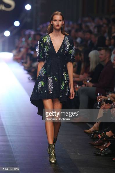 A model showcases designs by Romance Was Born on the runway during the David Jones opening event as part of Virgin Australia Melbourne Fashion...