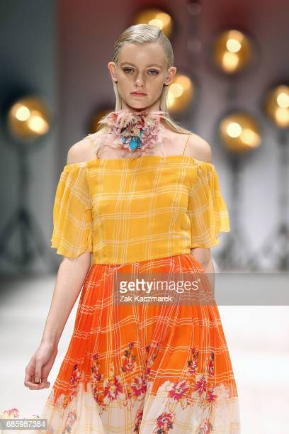 A model showcases designs by Roopa during MercedesBenz Fashion Week Weekend Edition at Carriageworks on May 20 2017 in Sydney Australia