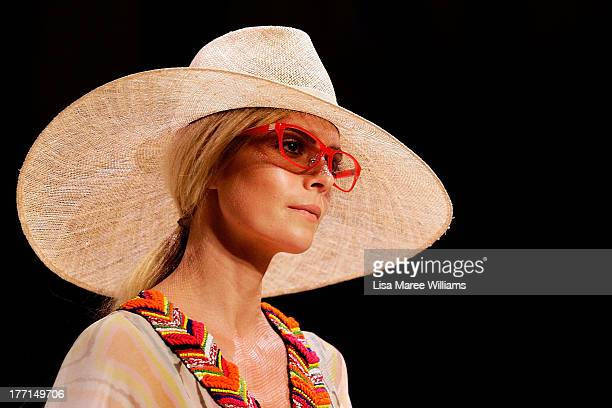 A model showcases designs by Roopa Pemmaraju on the runway at the MBFWA Trends show during MercedesBenz Fashion Festival Sydney 2013 at Sydney Town...