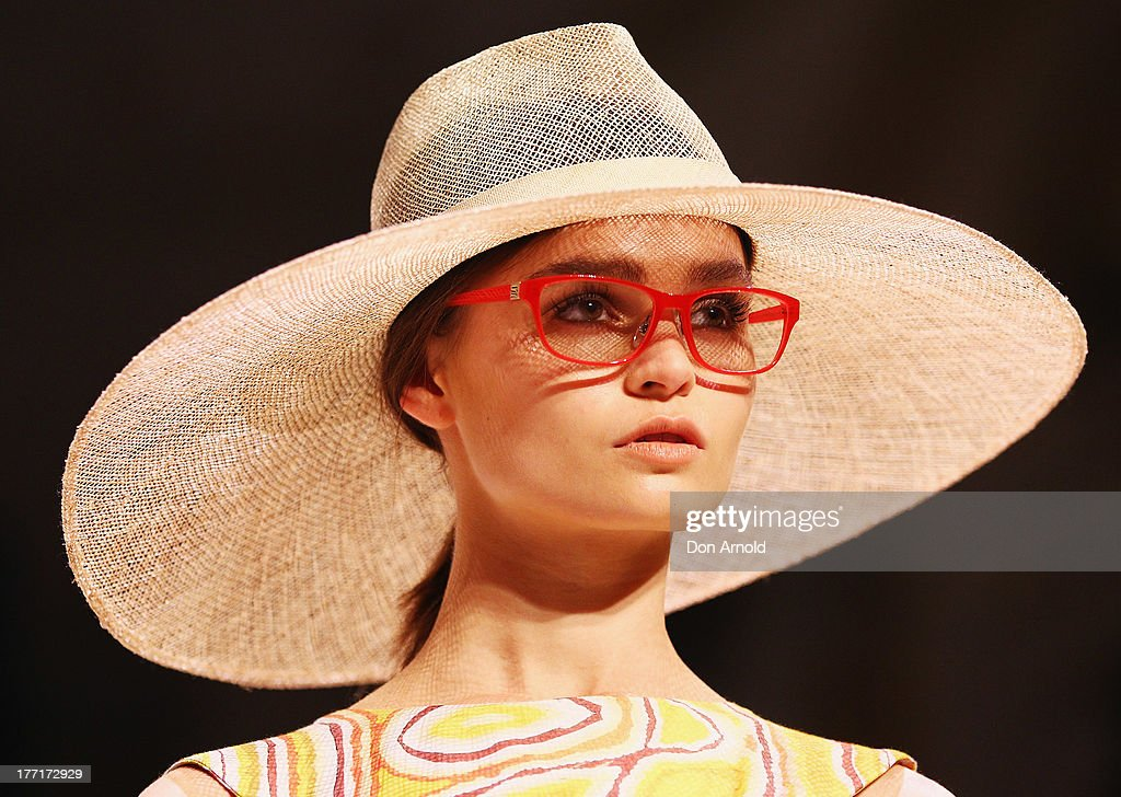 A model showcases designs by Roopa Pemmaraju on the runway at the MBFWA Trends show during Mercedes-Benz Fashion Festival Sydney 2013 at Sydney Town Hall on August 21, 2013 in Sydney, Australia.