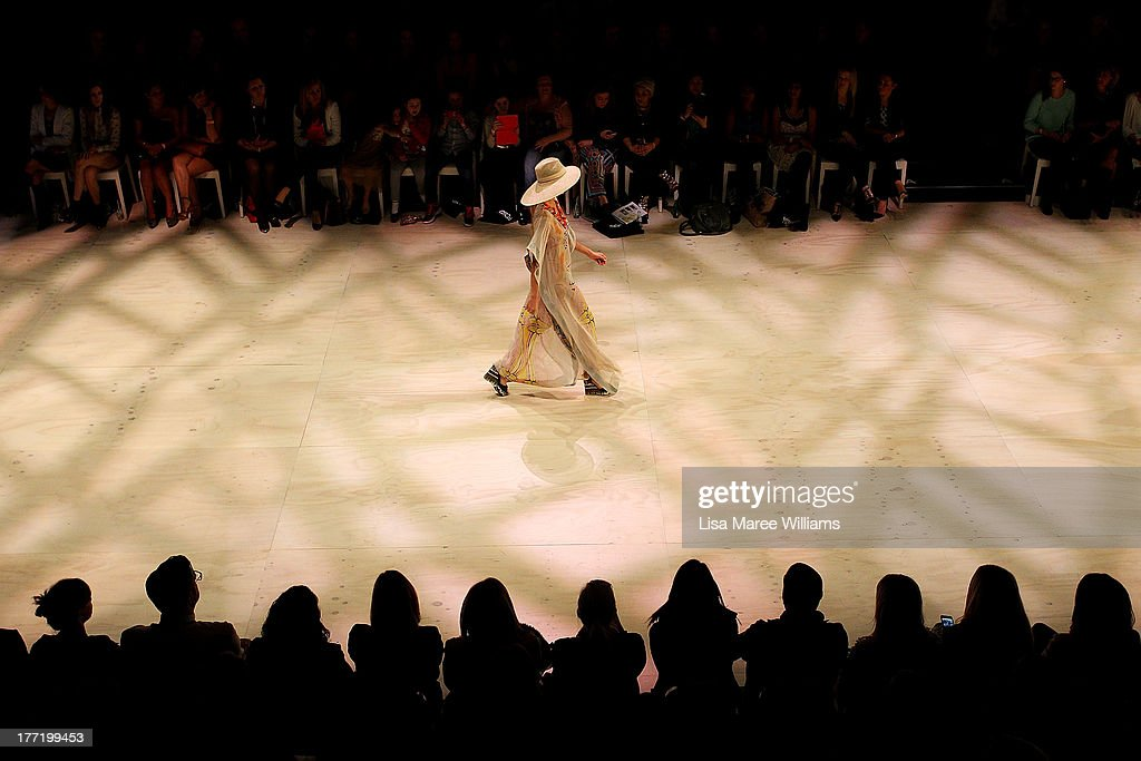 A model showcases designs by Roopa Pemmaraju on the runway at the MBFWA Trends show during Mercedes-Benz Fashion Festival Sydney 2013 at Sydney Town Hall on August 22, 2013 in Sydney, Australia.