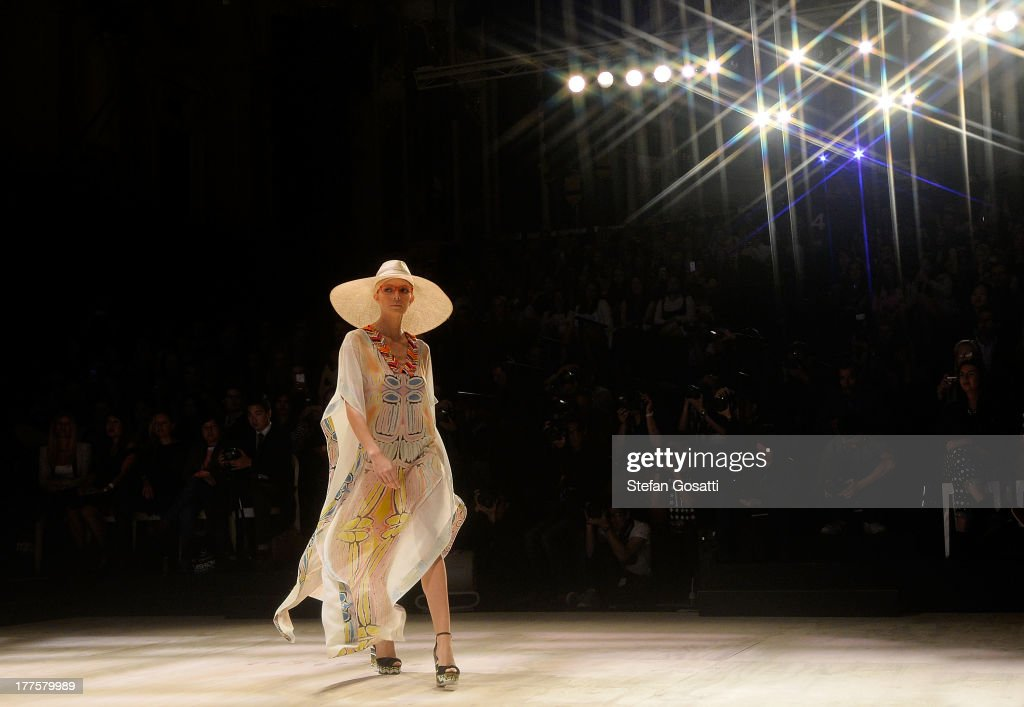 A model showcases designs by Roopa Pemmaraju on the runway at the MBFWA Trends show during Mercedes-Benz Fashion Festival Sydney 2013 at Sydney Town Hall on August 24, 2013 in Sydney, Australia.